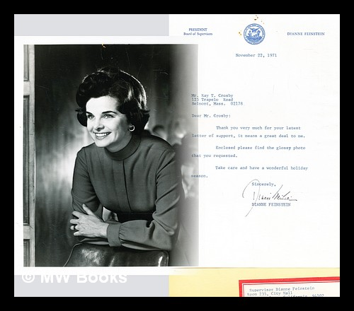 Black and white photo of Dianne Feinstein, with signed letter. Dianne Feinstein, 1933-.